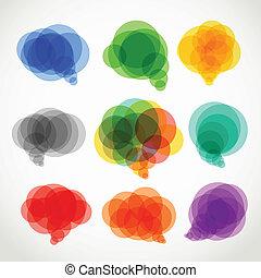 色, スピーチ, 抽象的, 雲, コレクション