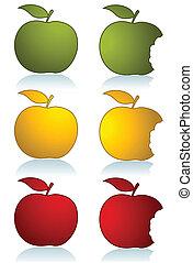 色, セット, りんご