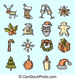 色, セット, クリスマス, アイコン