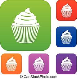 色, セット, コレクション, cupcake