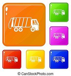 色, セット, トラック, ごみ, アイコン