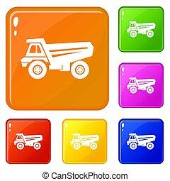 色, セット, トラック, アイコン