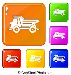 色, セット, トラック, ゴミ捨て場, アイコン