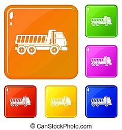 色, セット, トラック, ダンパ, アイコン
