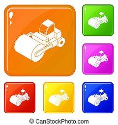色, セット, トラック, ローラー, アイコン