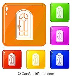 色, セット, ドア, アーチ形にされる, アイコン