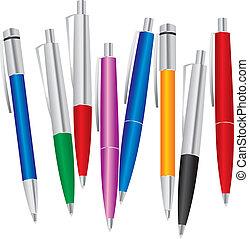 色, セット, ペン