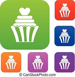 色, セット, 愛, コレクション, cupcake