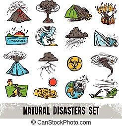 色, セット, 自然災害