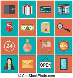 色, セット, icons., store., オンラインで, 平ら, 概念
