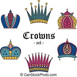 色, セット, illustration., 王冠, design.