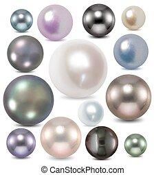 色, セット, pearl., ベクトル