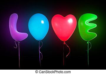 色, テキスト, 風船, 愛, 形づくられた