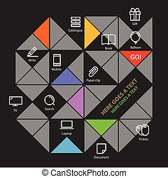 色, テンプレート, 社会, 現代, 媒体, icons., infographic, 内容