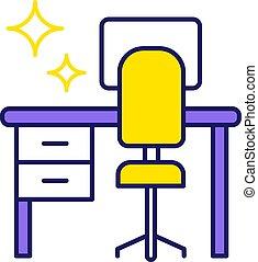 色, テーブル, アイコン, 清掃, 机