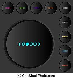 色, ナビゲーション, アイコン, 縦, 押しボタン, 暗い, ページ