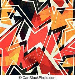 色, パターン, 幾何学的, 暖かい, seamless