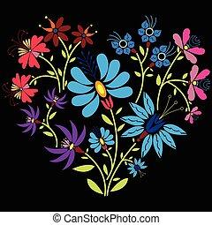 色, パターン, 心, 人々, 花