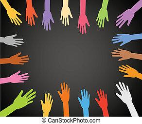 色, フレーム, 黒い背景, 手