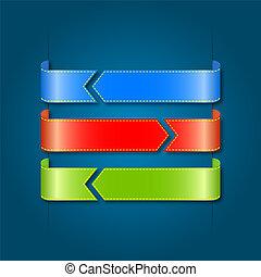 色, ベクトル, セット, ribbons.