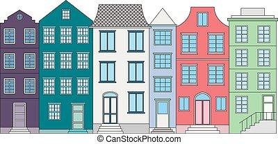 色, ベクトル, 家, イラスト, 横列