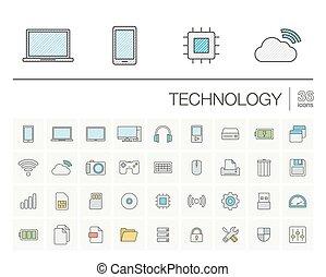 色, ベクトル, 技術, デジタル, アイコン