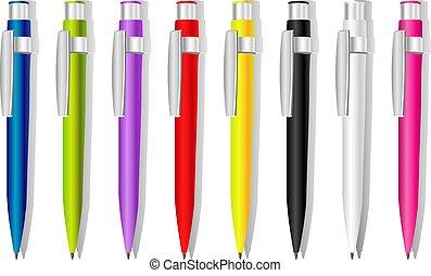 色, ベクトル, 記念品, ペン