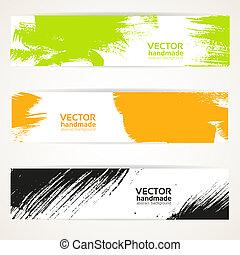 色, ベクトル, handdraw, 旗, セット