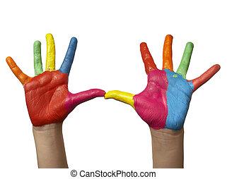 色, ペイントされた, 子供, 手