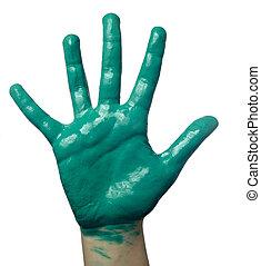 色, ペイントされた, 子供, 手, 芸術, 技能