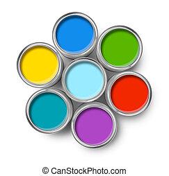 色, ペンキの錫, 上, 缶