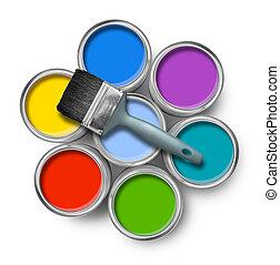 色, ペンキの 缶, ブラシ