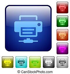 色, ボタン, プリンター, 広場, ネットワーク