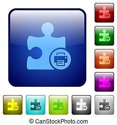色, ボタン, プリンター, 広場, plugin