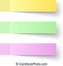 色, メモ, 付せん, ベクトル, テンプレート, shadow.