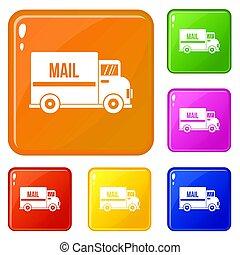 色, メール, セット, トラック, アイコン