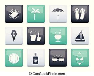 色, 上に, オブジェクト, 背景, 休日, 浜, 夏