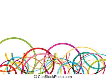 色, 円, ラウンド, 楕円, ライン, 波, カラフルである, モザイク, 抽象的, イラスト, 背景, ベクトル