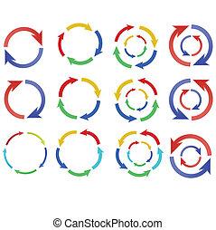 色, 円, 矢