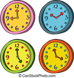 色, 別, セット, 時計