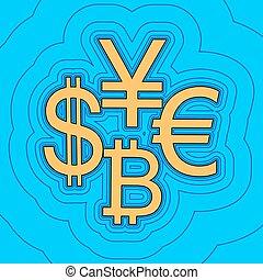 色, -, 印, 通貨, 輪郭, 青, yen., バックグラウンド。, 空フィールド, 黒, 輪郭, vector., ドル, 地図, コレクション, equidistant, sea., 波, bitcoin, アイコン, のように, 島, 海洋, 砂, ユーロ, ∥あるいは∥