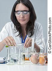 色, 取引, 化学薬品, 女性, 実験室, laboratory., スタッフ