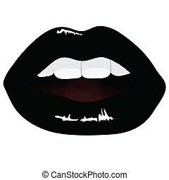 色, 唇, ベクトル, 黒