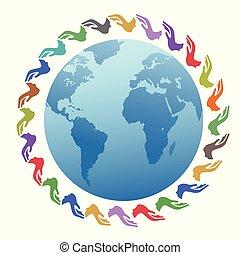 色, 地球, のまわり, 手
