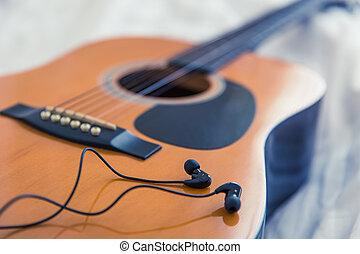 色, 型, concept., tone., ベッド, 朝, ギター, 音楽, 背景, 寝室, 白