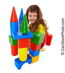 色, 城, 立方体, 作られた, 子供