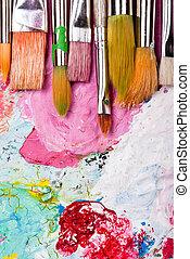 色, 多数, パレット, ブラシ