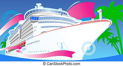 色, 大きい, 巡航, boat., 贅沢