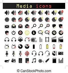 色, 媒体, セット, 黒, アイコン