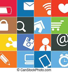 色, 媒体, 現代, ボタン, 社会, インターフェイス